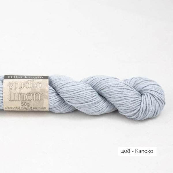 One skein of Studio Linen by Erika Knight in the Kanoko colorway (light blue)