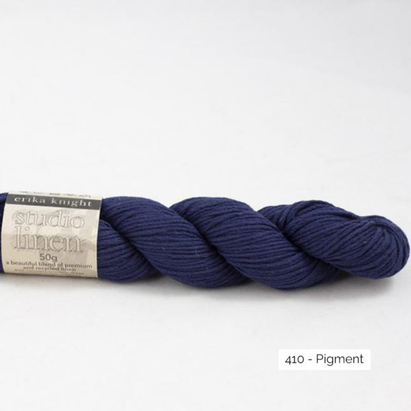 One skein of Studio Linen by Erika Knight in the Pigment colorway (indigo blue)