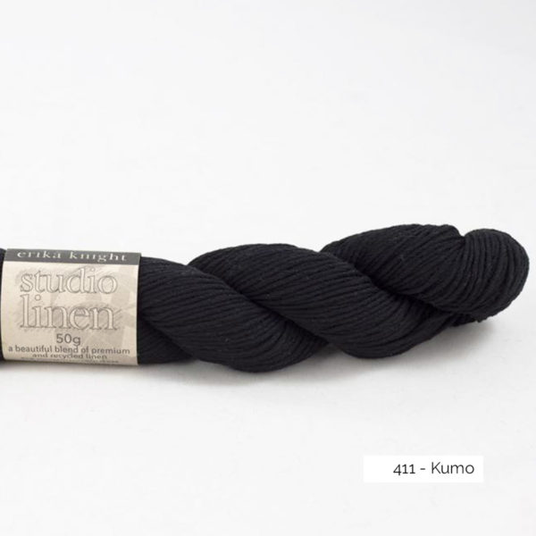 One skein of Studio Linen by Erika Knight in the Kumo colorway (black)