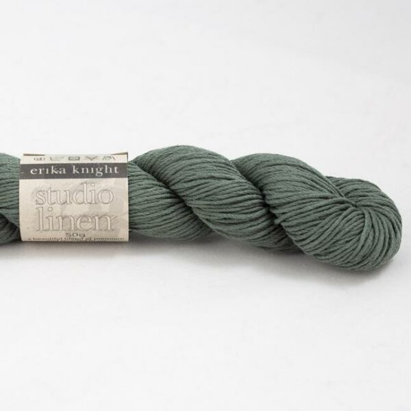One skein of Studio Linen by Erika Knight in the Shrub colorway (sage green)