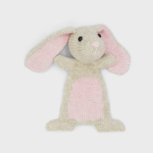 Doutze Rabbit, knitted using a Hardicraft kit, light beige and light pink softie