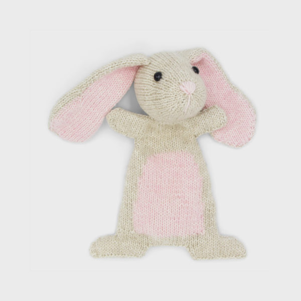 Doutze Rabbit, knitted using a Hardicraft kit, light beige and light pink softie