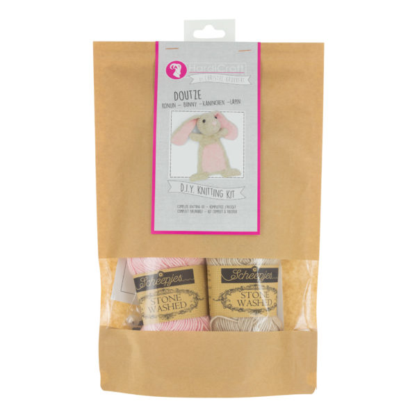 Display of a Hardicraft softie knitting kit, to knit Doutze Rabbit, in its packaging