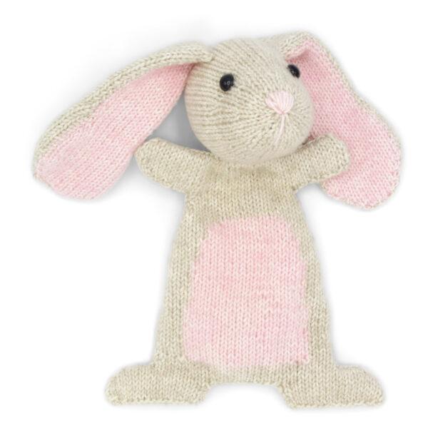 Doutze Rabbit, knitted using a Hardicraft softie kit, light beige and light pink rabbit