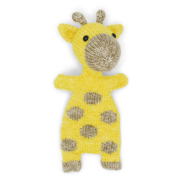 Ziggy the Giraffe, knitted with a Hardicraft softie kit, yellow and beige giraffe softie with dots on its bodies