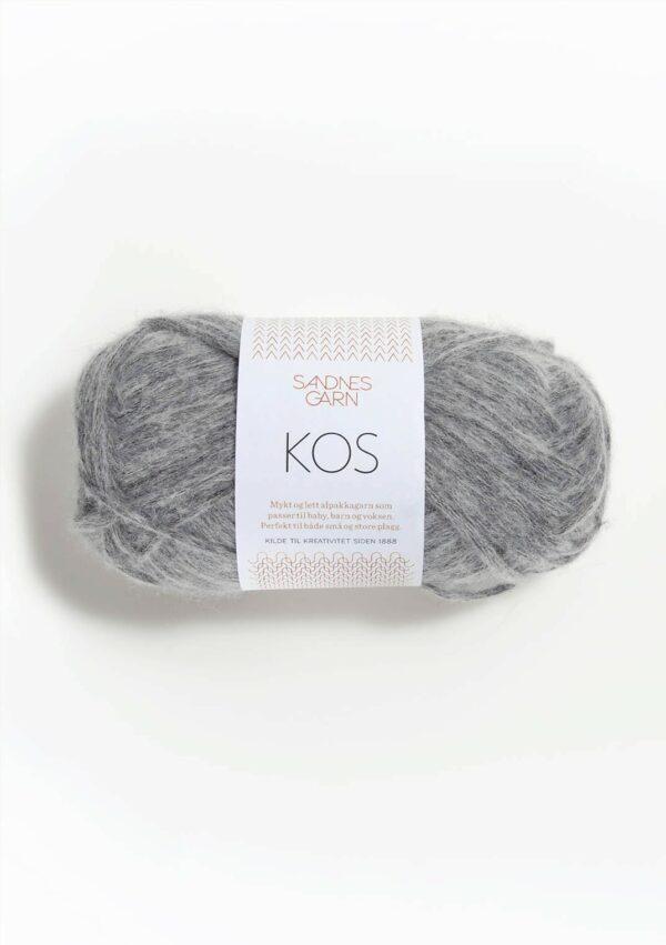 Une pelote de Kos de Sandnes Garn coloris Grey Mottled (gris moyen chiné blanc)