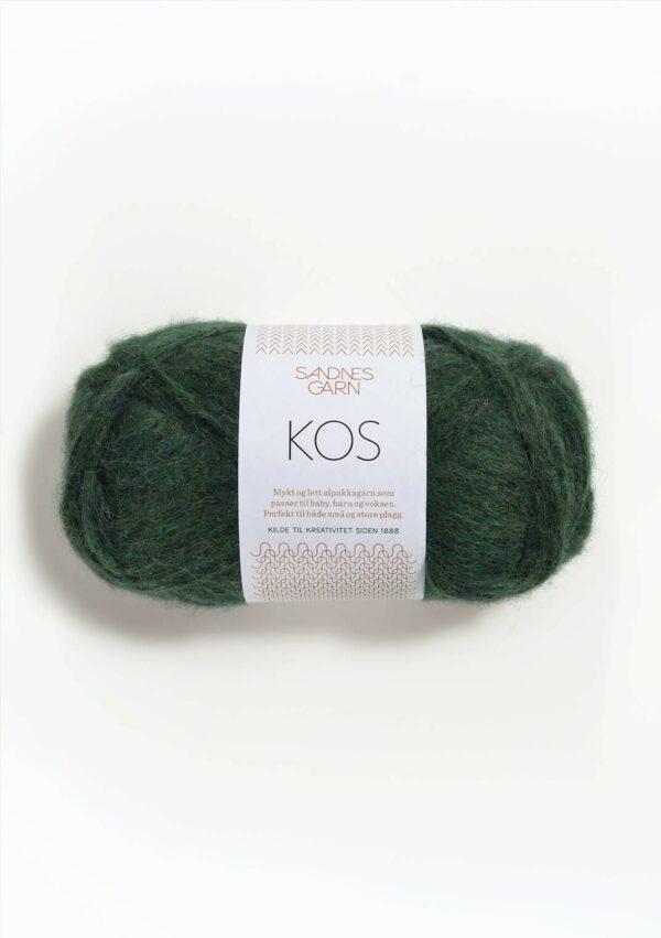 Une pelote de Kos de Sandnes Garn coloris Green Mottled (vert bouteille chiné)