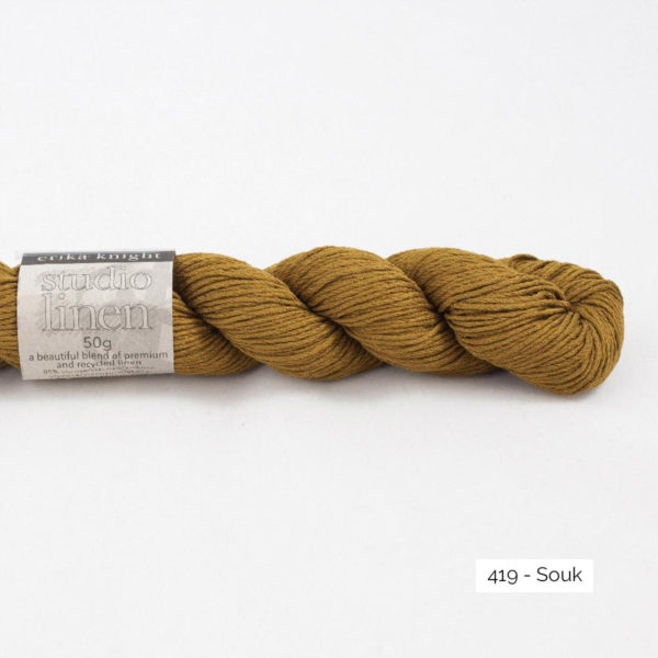 One skein of Studio Linen by Erika Knight in the Souk colorway