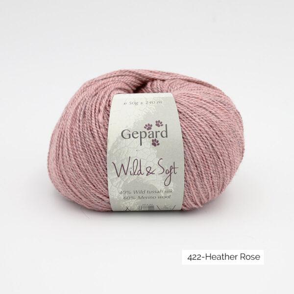 Une pelote de Wild & Soft de Gepard Garn, coloris Heather Rose (rose froid moyen chiné)
