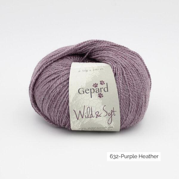 Une pelote de Wild & Soft de Gepard Garn, coloris Purple Heather (parme chiné)