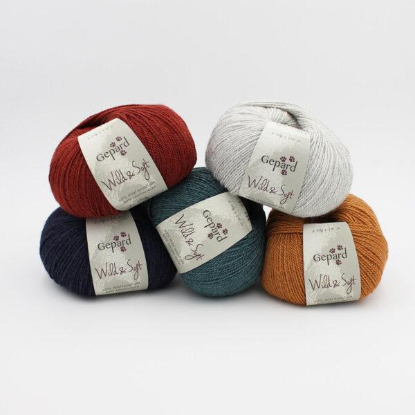 5 pelotes de Wild & Soft de Gepard Garn dans des coloris assortis