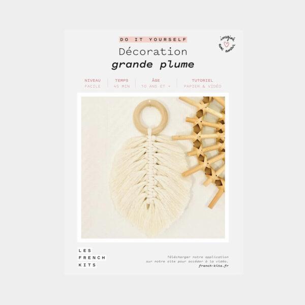 """Présentation de la boîte d'un kit de macramé """"Grande Plume"""" de Les French'kits"""
