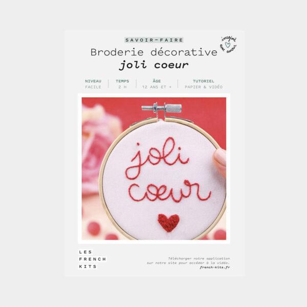 """Présentation de la boîte d'un kit de broderie décorative """"Joli Coeur"""" de Les French'kits"""