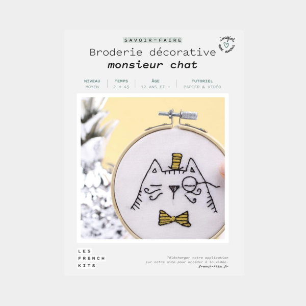 """Présentation de la boîte d'un kit de broderie décorative """"Monsieur Chat"""" de Les French'kits"""
