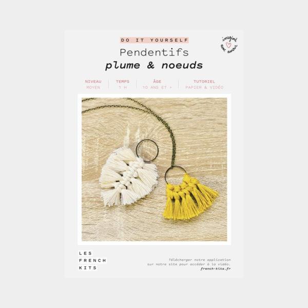 """Présentation de la boîte d'un kit DIY """"Pendentifs Plumes et Noeuds"""" de Les French'kits"""