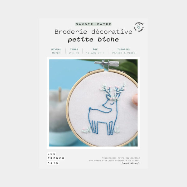 """Présentation de la boîte d'un kit de broderie décorative """"Petite Biche"""" de Les French'kits"""