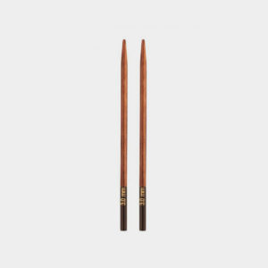 A pair of interchangeable needle tips in wood, from Knit Pro's Ginger range