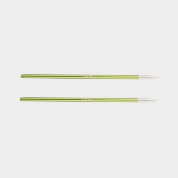 A pair of Knit Pro's Zing needle tips, in citrus green aluminum with silvery points
