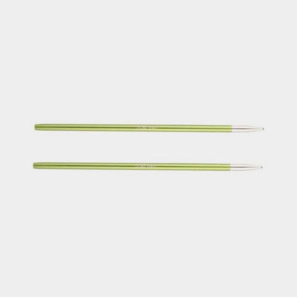 Une paire de pointes Zing de Knit Pro, en alu vert anis avec pointes argent