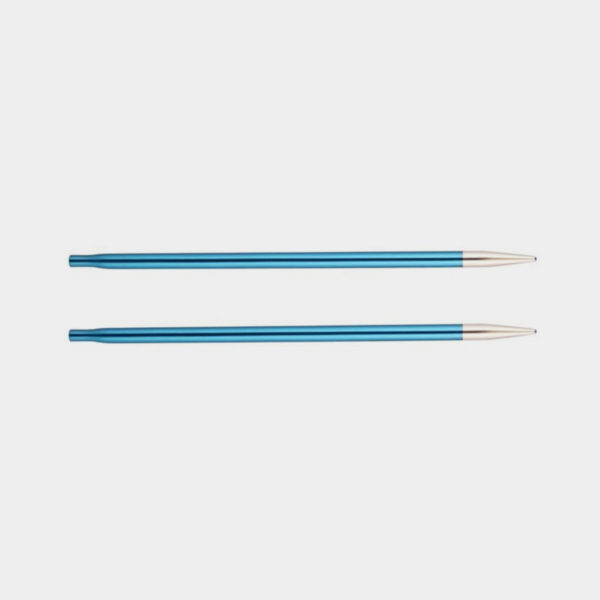 A pair of Knit Pro's Zing needle tips, in sapphire blue aluminum with silvery points
