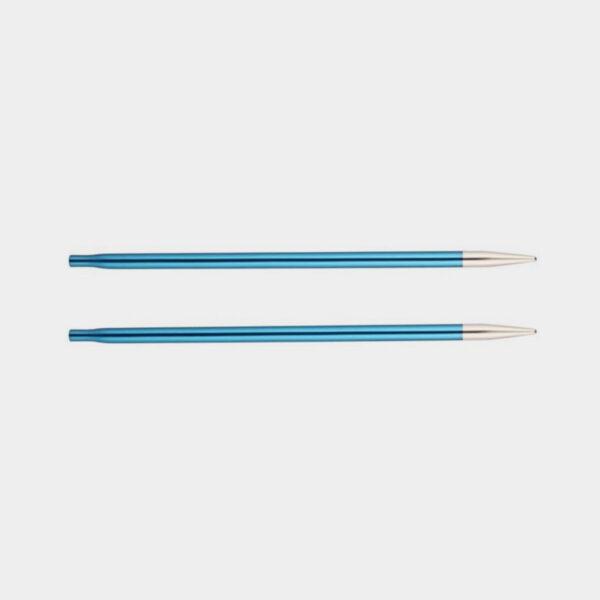 Une paire de pointes Zing de Knit Pro, en alu bleu avec pointes argent