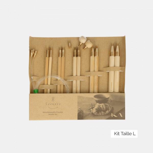 Mini-kit d'aiguilles circulaires interchangeables Seeknit de Kinki Amibari, taille L, composé de 5 paires de pointes en bambou et d'accessoires assortis, dans leur packaging