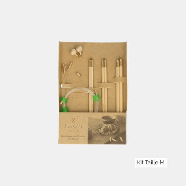 Mini-kit d'aiguilles circulaires interchangeables Seeknit de Kinki Amibari, taille M, composé de 3 paires de pointes en bambou et d'accessoires assortis, dans leur packaging