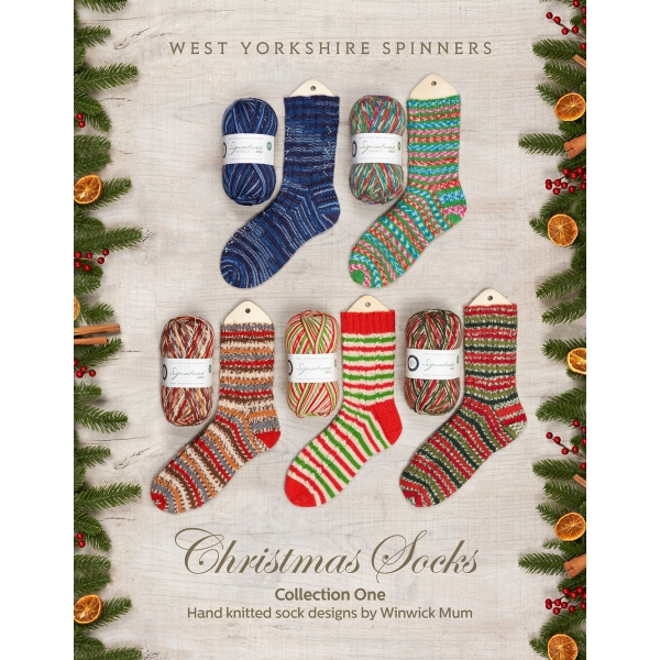Flyer presenting the 5 colours of the Christmas collection sock yarns created by West Yorkshire Spinners
