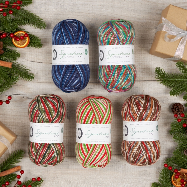 Display of the 5 colours of the Christmas collection sock yarn created by West Yorkshire Spinners
