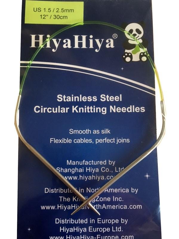 Présentation d'une mini-aiguille circulaire coudée de 30cm de la marque Hyia Hyia