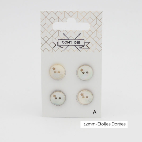 Display of a card of four mother of pearl buttons with a little gold stars design created by Com'1 Idée