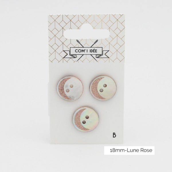Display of a card of three mother of pearl buttons with a rose gold glittery moon design created by Com'1 Idée