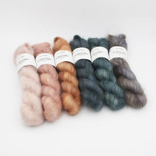 6 skeins Leona by Emilia & Philomène in assorted colorways