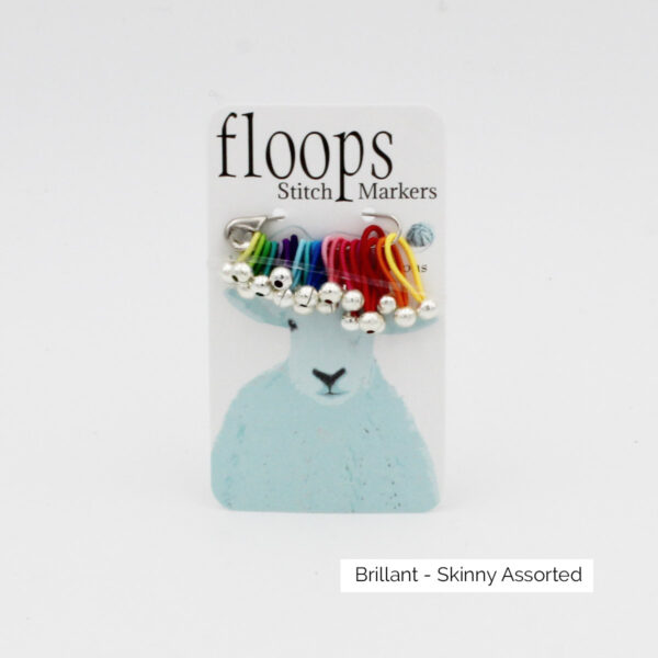 A card of flexible Floops Stitch Markers in the Brillant colours (rainbow) and assorted size