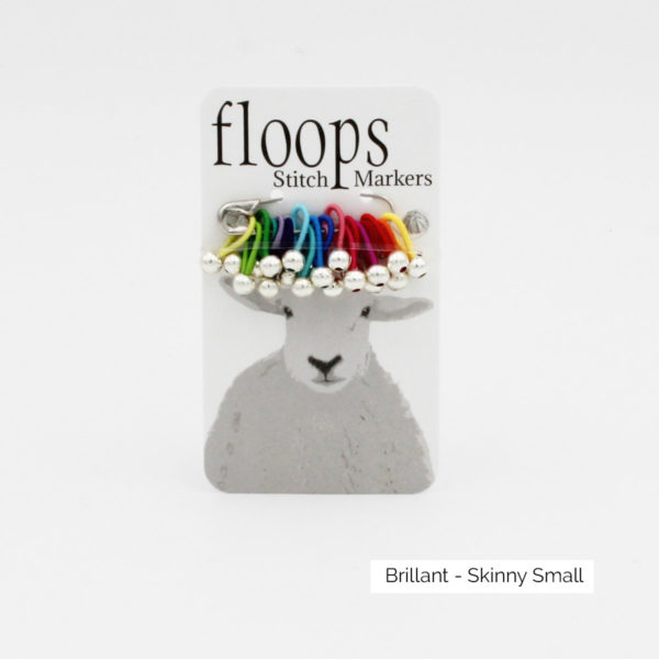 A card of flexible Floops Stitch Markers in the Brillant colours (rainbow) and small size