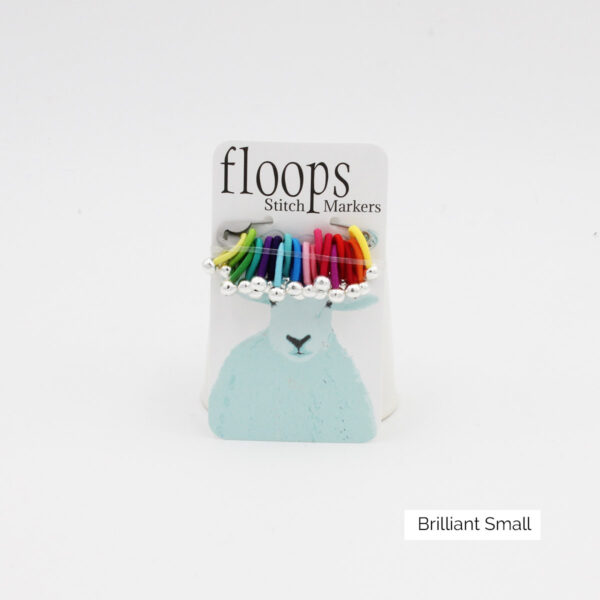 A card of flexible Floops Stitch Markers in the Brilliant colours and small size