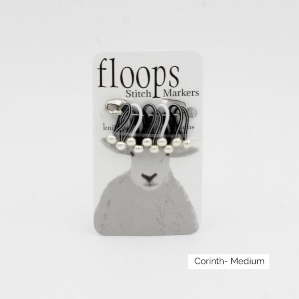 A card of flexible Floops Stitch Markers in the Corinth colours (black and white) and medium size