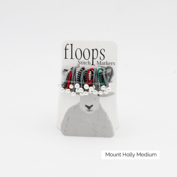A card of flexible Floops Stitch Markers in the Mount Holly colours and medium size