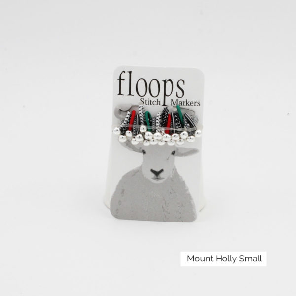 A card of flexible Floops Stitch Markers in the Mount Holly colours and small size