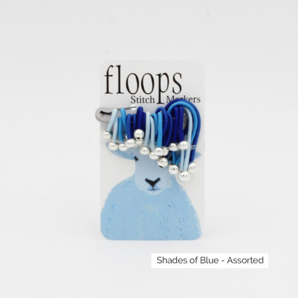 A card of flexible Floops Stitch Markers in shades of blue and assorted sizes