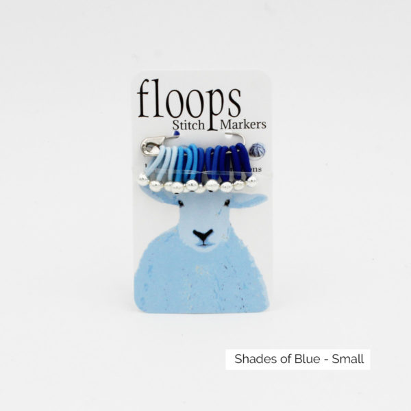 A card of flexible Floops Stitch Markers in shades of blue and small size