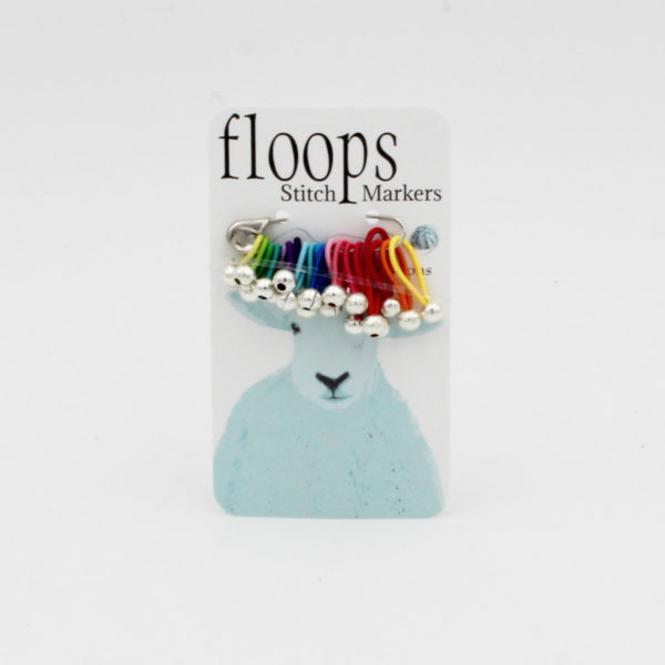 A card of flexible Floops Stitch Markers in rainbow colours and assorted sizes