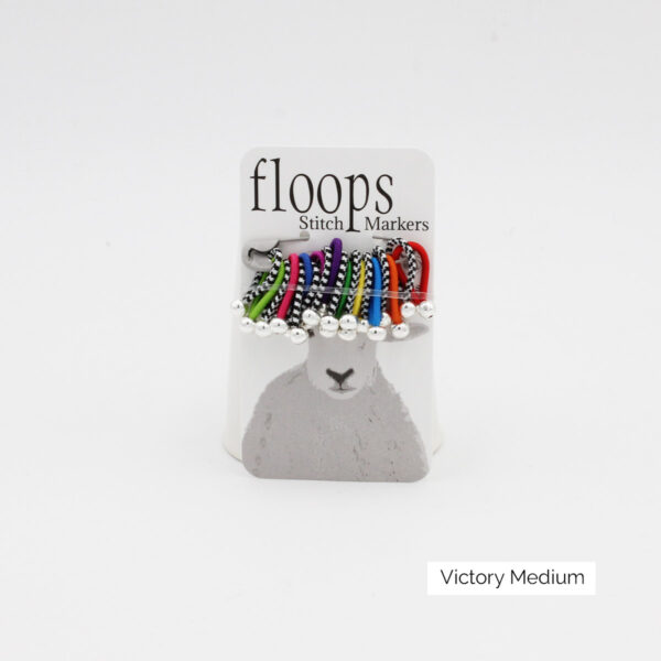 A card of flexible Floops Stitch Markers in the Victory colours and medium size
