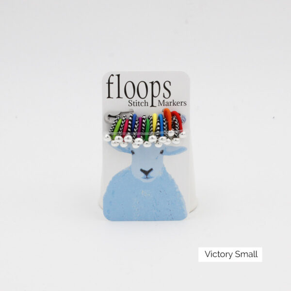 A card of flexible Floops Stitch Markers in the Victory colours and small size