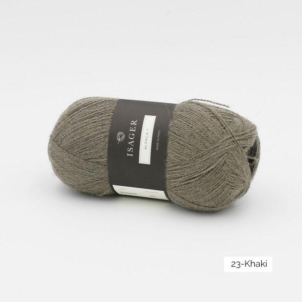 Une pelote d'Alpaca1 d'Isager coloris Khaki