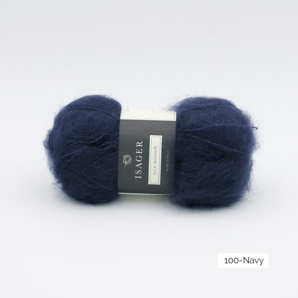 A ball of Isager's Silk Mohair in the Navy colorway