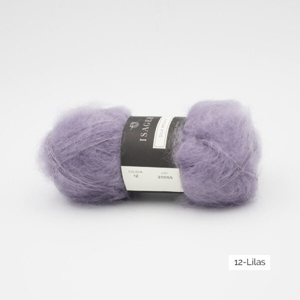 A ball of Isager's Silk Mohair in the Lilas colorway (lilac)