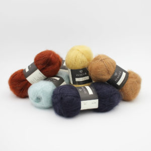 5 balls of Isager's Silk Mohair in assorted colours