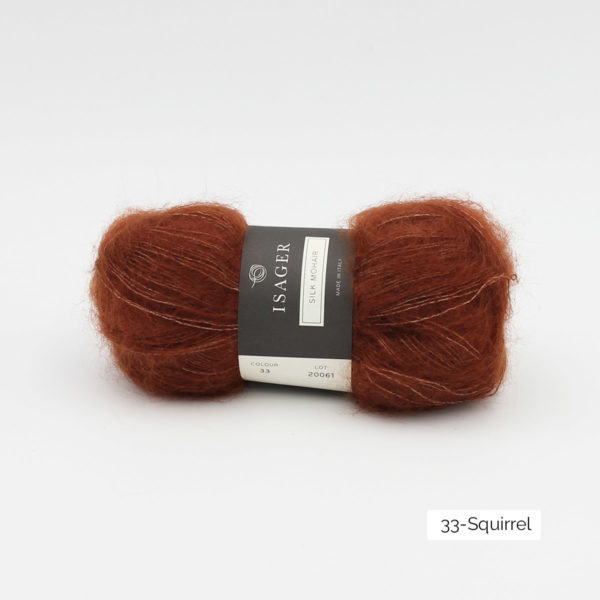 A ball of Isager's Silk Mohair in the Squirrel colorway