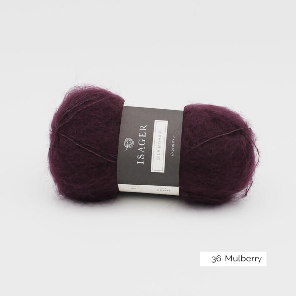 A ball of Isager's Silk Mohair in the Mulberry colorway
